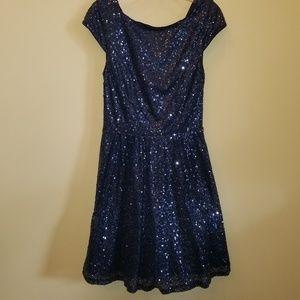 HOCO BLUE SEQUIN OCCASION DRESS